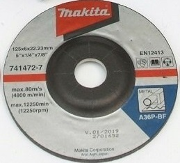MAKITA TARCZA SZLIFIERSKA DO METALU 125x6x22,23mm  741472-7